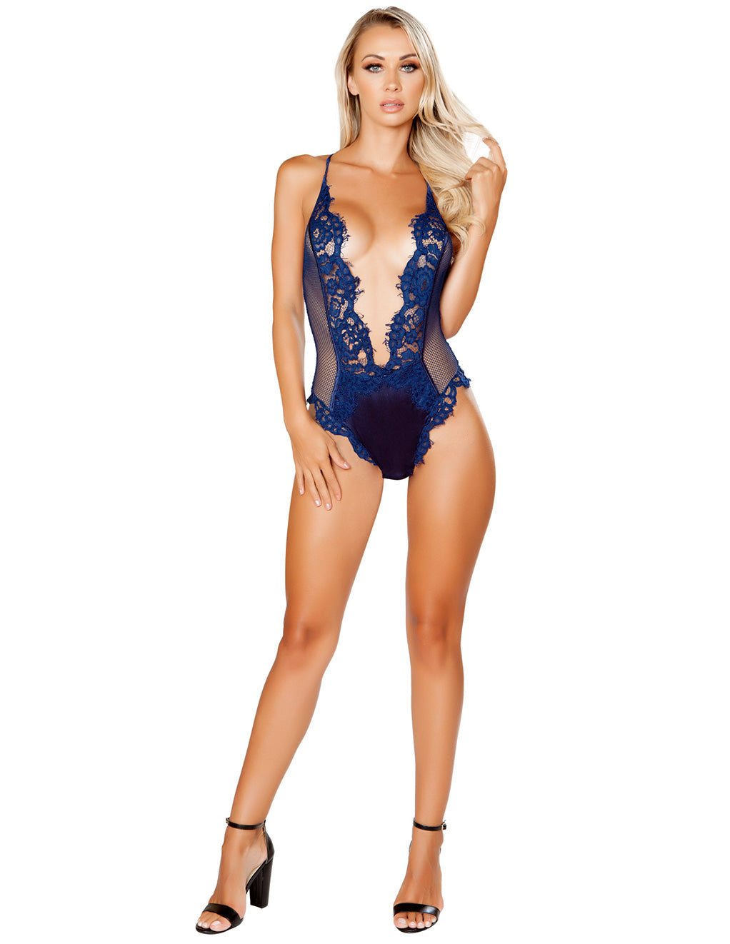Black Satin & Eyelash Lace Deep V Teddy by Roma Costumes Navy Front