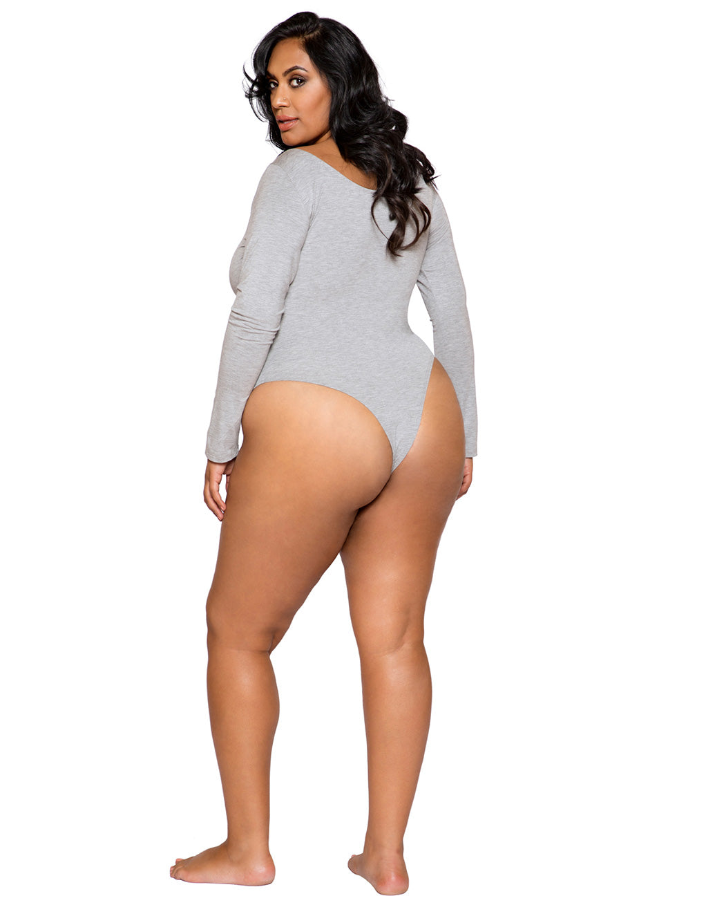 Cozy Long Sleeved Bodysuit By Roma Costume Plus Size Gray Back