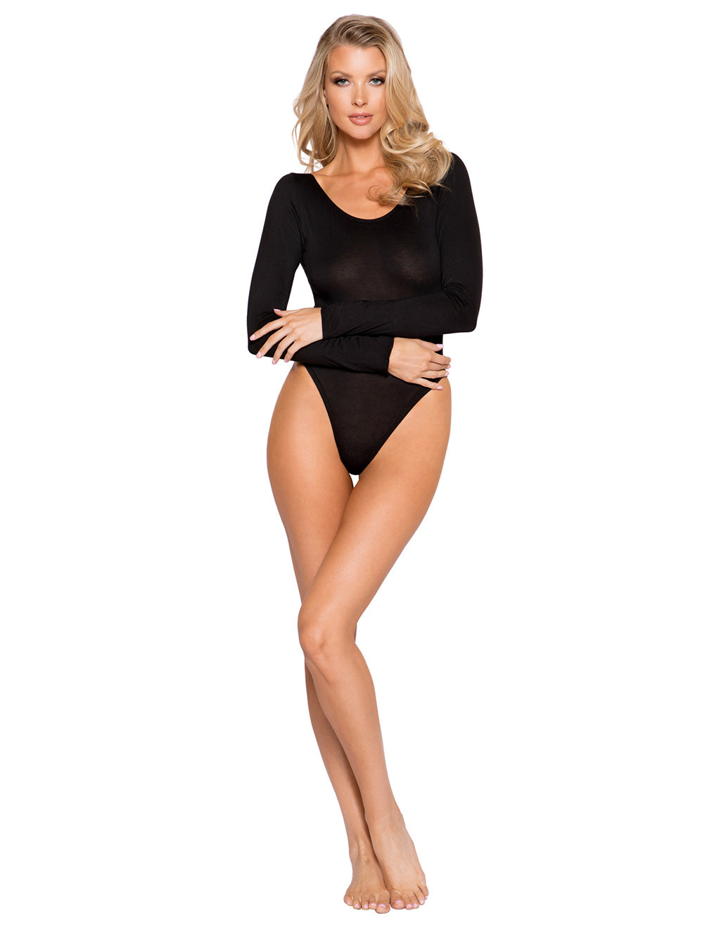 Cozy Long Sleeved Bodysuit By Roma Costume Black Front
