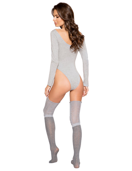 Cozy Long Sleeved Bodysuit By Roma Costume Gray Back