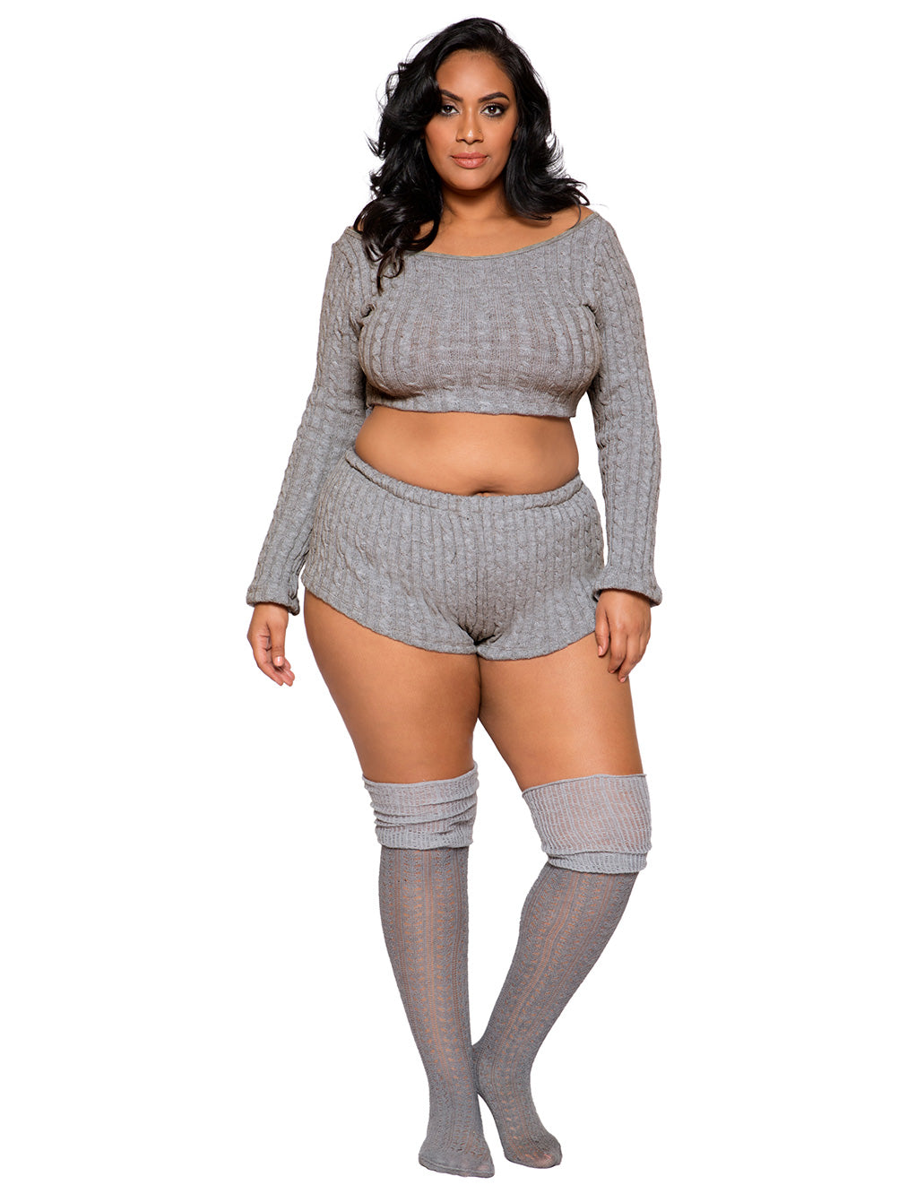 Cozy And Comfy Pajama Short Set By Roma Costume Plus Size Front