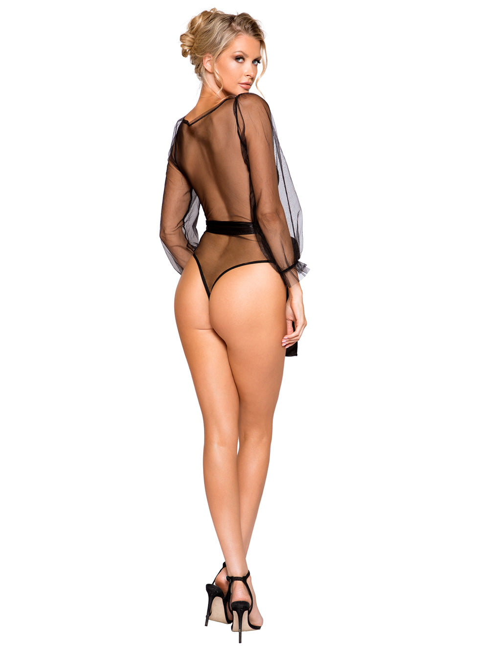Long Sheer Flair Sleeve Teddy by Roma Costume Black Back