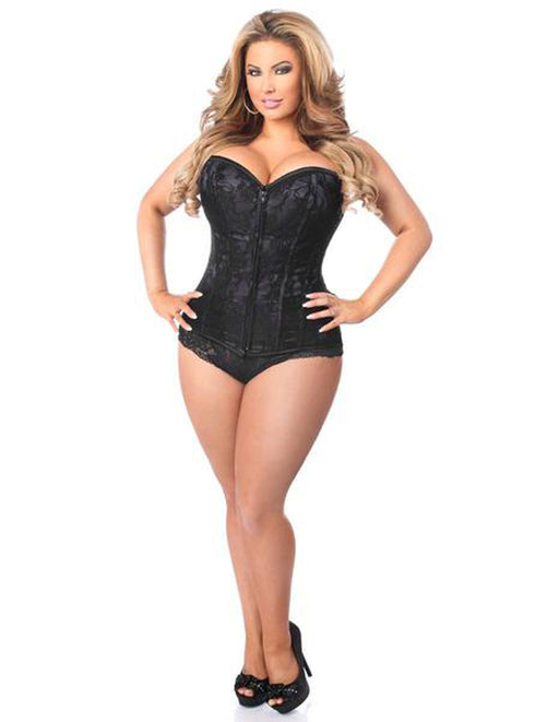 Daisy Corsets Lavish Black Satin Over Bust Corset With Busk Closure 2X - Featured Image
