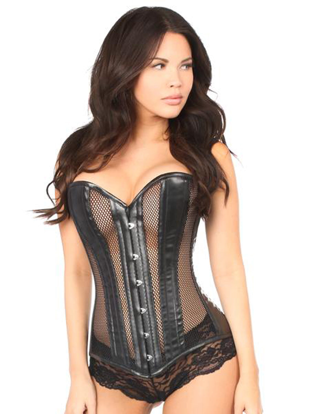 Daisy Corsets Large Lavish Faux Leather And Fishnet Over Bust Corset Black