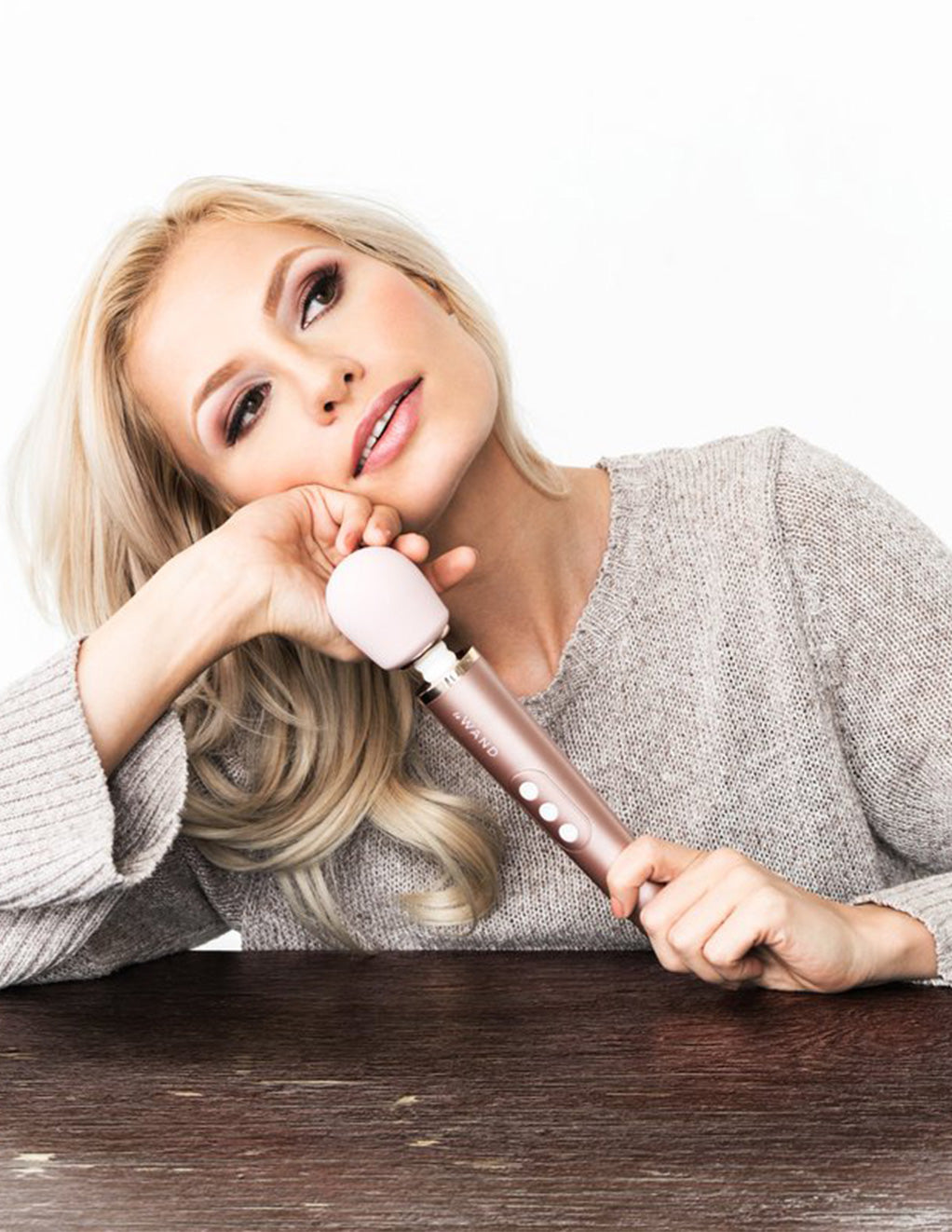 Le Wand Petite Rechargeable Massager Rose Gold Handheld By A Model
