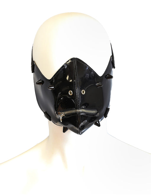 Funk Plus Vinyl Zipper Stud Half Mask Black - Lingerie - Fetish Womens - Featured Image