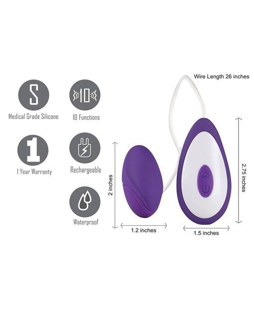 Maia Jace USB Rechargeable Wired 10-Speed Bullet Vibrator features