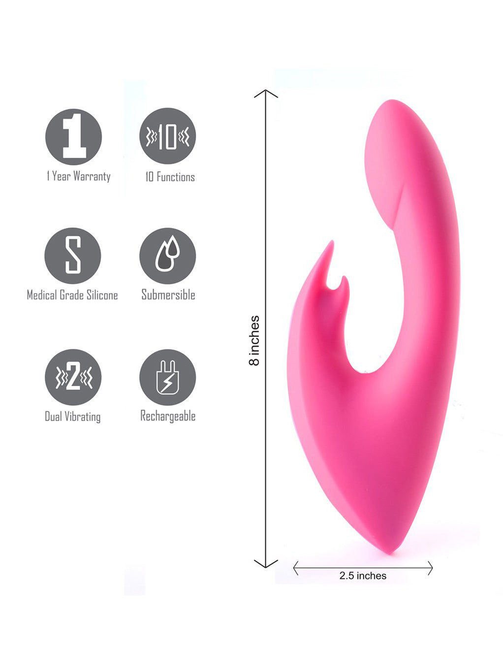 Maia Leah USB Rechargeable Silicone 10-Function Rabbit Vibrator features