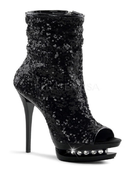 Pleaser Blondie R 1008 Sequined Open Toe Ankle Boot - Accessories - Footwear