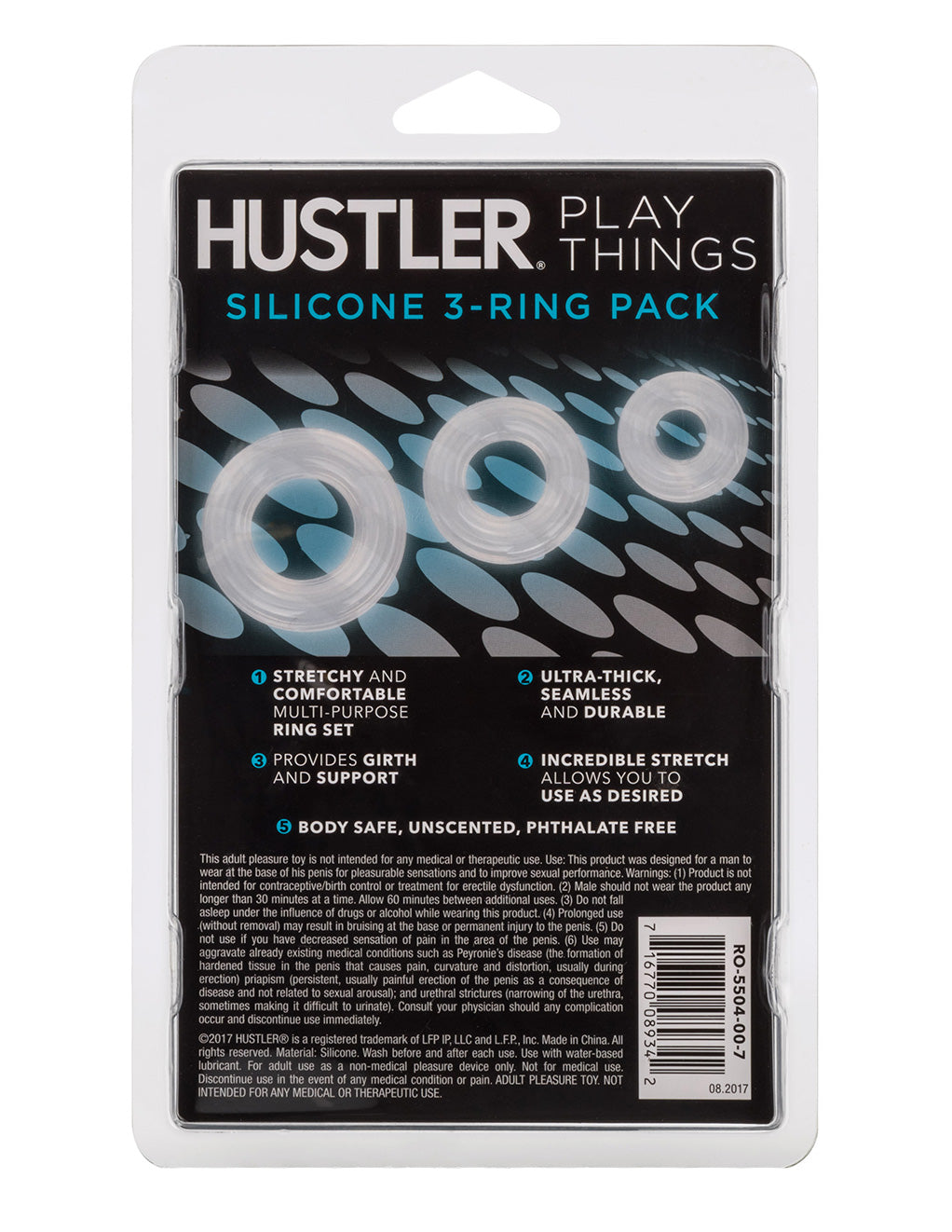 Hustler Playthings Premium Silicone 3 Ring Cockring Pack - Novelties - Cockring