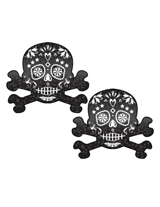 Pastease Glitter Candy Skull Nipple Pasties Black