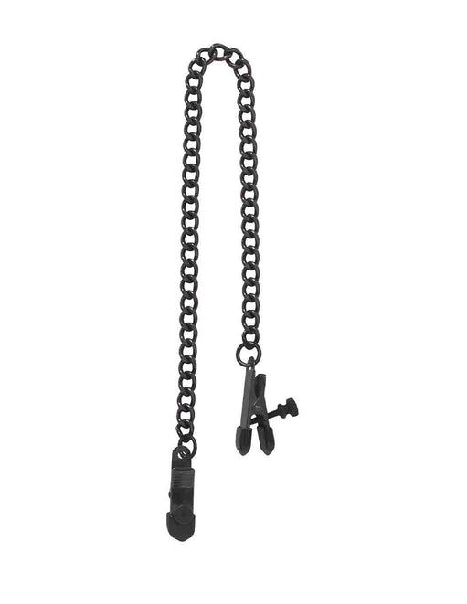 Spartacus Broad Tip Adjustable Chained Nipple Clamps Black