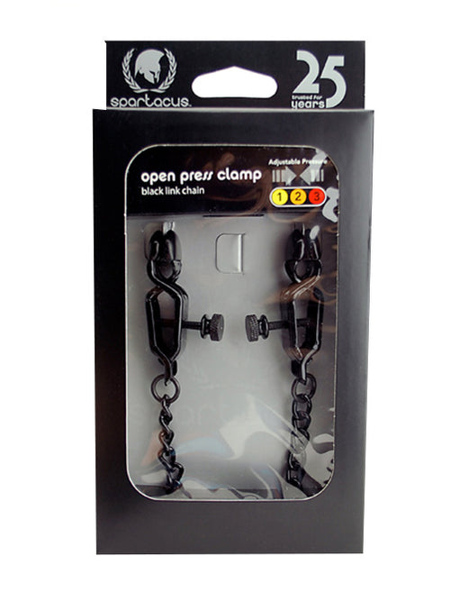 Spartacus Adjustable Link Chain Open Wide Blackline Clamps - Fetish BDSM - Nipple play