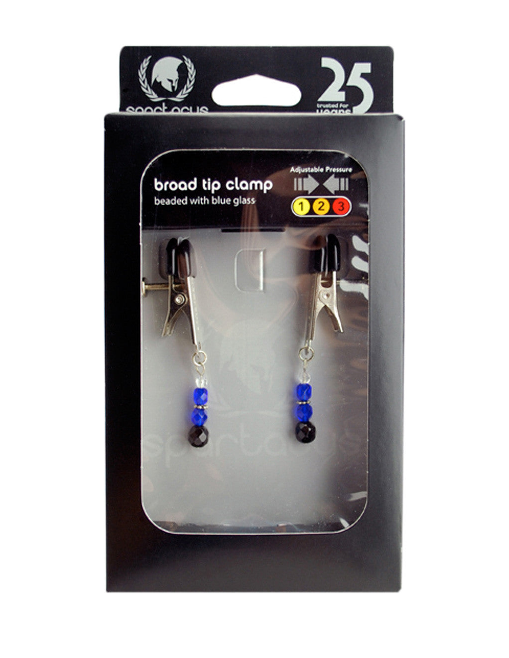 Spartacus Broad Tip Adjustable Beaded Nipple Clamps blue packaging