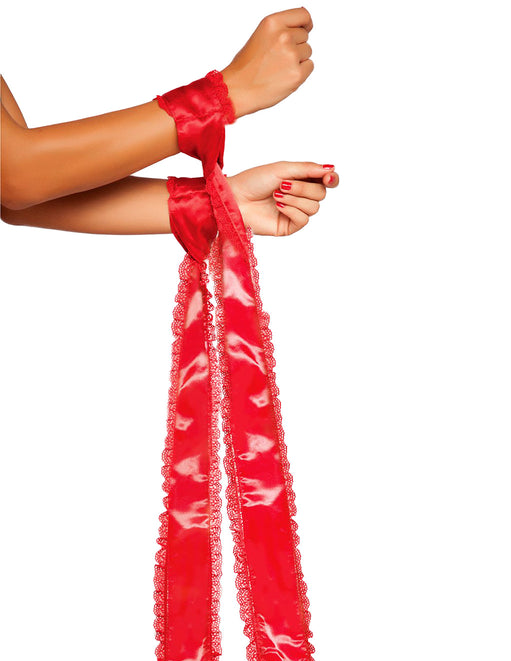 Satin Bondage Ties With Lace Trim 2 Pack  red