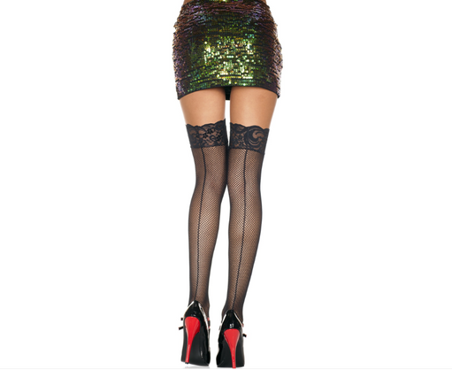 Music Legs Sexy Black Lace Fishnet Thigh Highs  - Featured Image