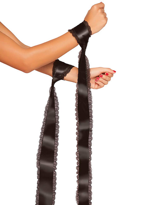 Satin Bondage Ties With Lace Trim 2 Pack black