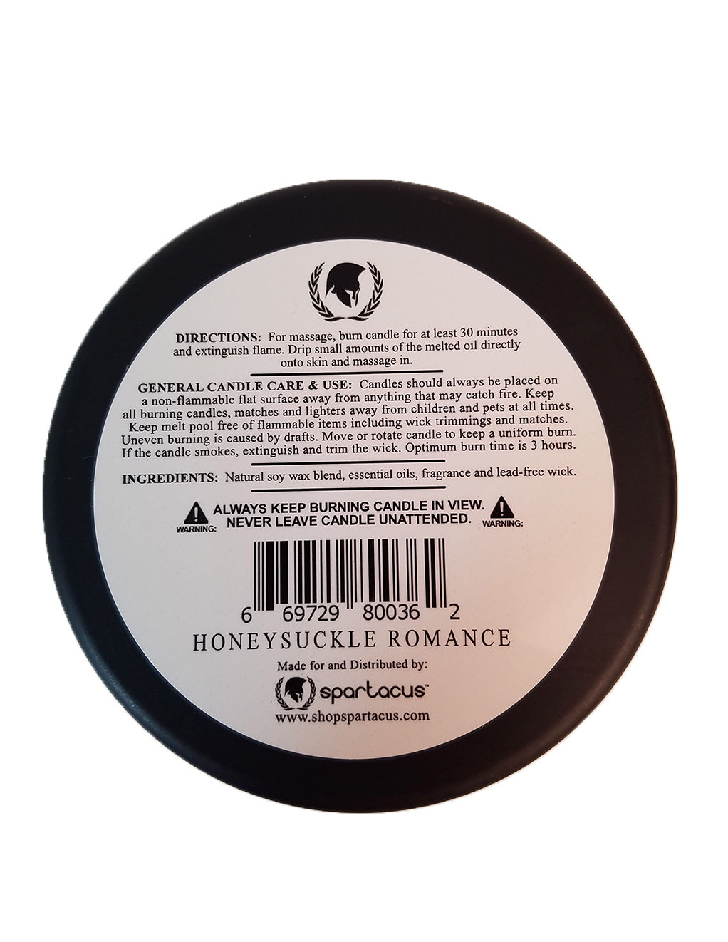 Spartacus Sensual Massage Candle Honeysuckle Romance - General Merchandise - Candles/Aroma