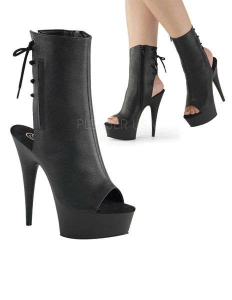 Pleaser Delight 1018 Platform Peep Toe Lace Up Ankle Boot Black PU