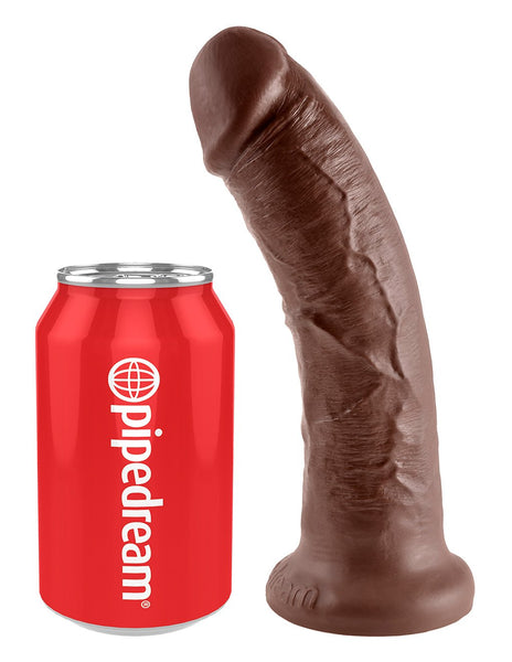 King Cock 8 Inch Realistic Dildo- Brown- Sizing