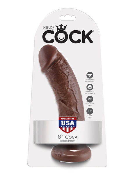 King Cock 8 Inch Realistic Dildo- Brown- Package