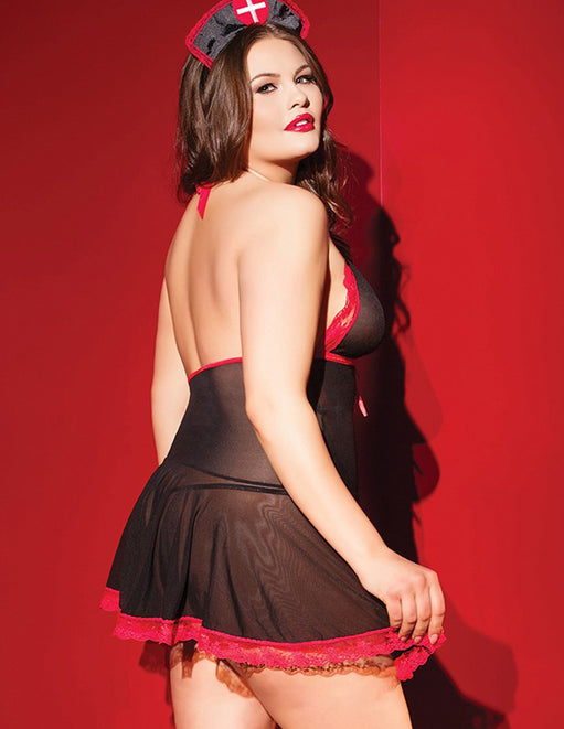 Coquette Black and Red Nurse Babydoll back