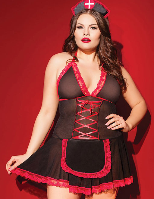 Coquette Black and Red Nurse Babydoll