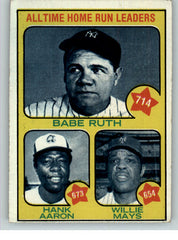 1973 Topps Baseball #001 Hank Aaron Babe Ruth Willie Mays EX 296299