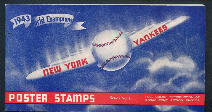 1944 New York Yankees Stamp Complete Set In Album w/Envelope 365576