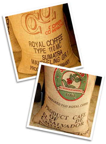 burlap sacks full of green coffee beans
