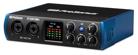 PreSonus Studio 24c 2x2, 192 kHz, USB-C Audio Interface, 2 Mic Pres-2 Line Outs/New Version