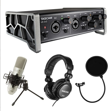 Tascam Trackpack USB 2x2 Recording Studio Bundle with Mic+Headphones+XLR+DAW Software