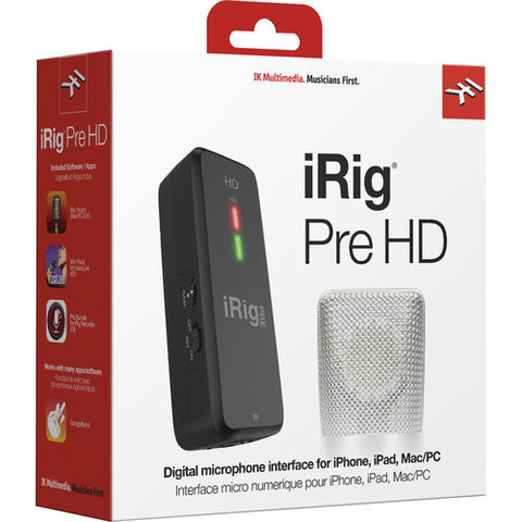 IK Multimedia iRig Pre HD Digital Streaming Microphone Lightning/USB Interface for iPhone, iPad and Mac/PC
