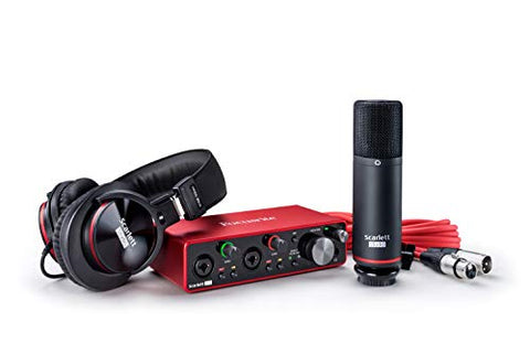 Focusrite Scarlett 2i2 Studio (3rd Gen) USB Audio Interface Recording Bundle with Pro Tools first, Headphones, Mic and Cable