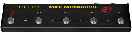 Tech 21 MIDI Mongoose - Stage-friendly, Battery Operable MIDI Footcontroller
