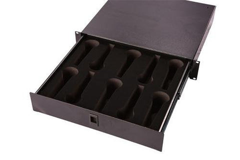 "Gator GRW-DRWMIC10 Gator Rackworks Rack Drawer; 14.2"" Deep; Lockable; Interior has Insert for 10 Microphones; 2U"