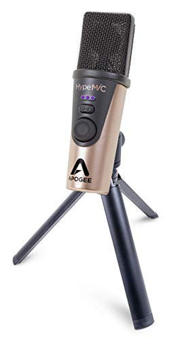 Apogee Hype Mic USB Microphone with Analog Compression for Capturing Vocals and Instruments, Streaming, Podcasting, Gaming, includes tripod, pop filter and carrying case