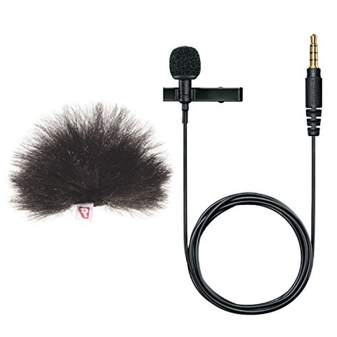 Shure MVL Omnidirectional Condenser Lavalier Microphone w/ Rycote Mini Windjammer Windscreen - Bundle