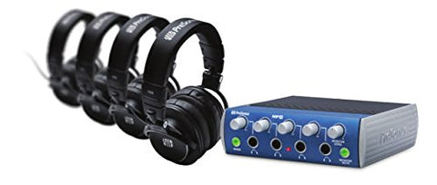 PreSonus HD9/HP4 Pack Professional 4 Headphone+1 headphone Amp Monitoring Bundle
