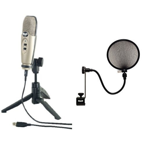 CAD U37 USB Studio Condenser Recording Microphone with CAD Pop Filter Bundle