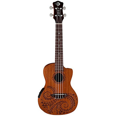 Luna Ukulele Tattoo Concert Electric with preamp, UKE TEC MAH