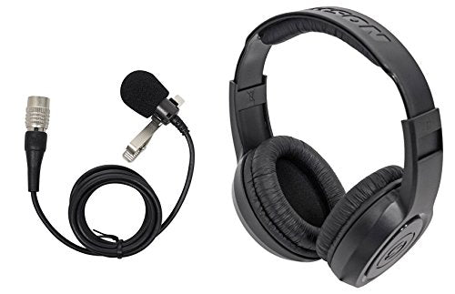 Audio Technica AT829CW Condenser Lavalier Microphone Mic + Samson Headphones
