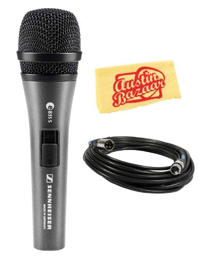 Sennheiser e835-S Handheld Dynamic Cardioid Microphone with On/Off Switch Bundle with Mic Cable
