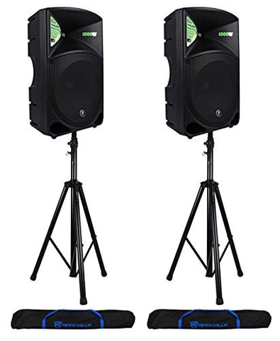 Pair of Mackie THUMP 15 Speakers with Speaker Stands and Travel Bag