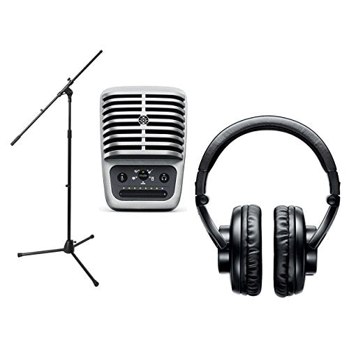 Shure MV51 Digital Large-Diaphragm Condenser Microphone Bundle with Shure SRH440 Professional Studio Headphones and Mic Stand - Portable Podcast Package (3 items)