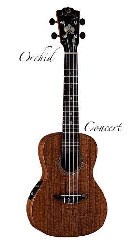 Luna Ukelele Concert Solid with Orchid Headstock, Ukelele S ORC