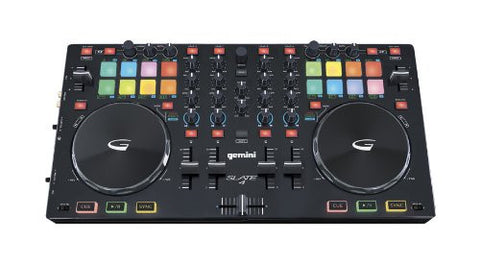 Gemini Slate 4 USB/MIDI controller with audio I/O, multi-function pad controls, touch sensitive jog wheels, 4-channel mix controls, Comes with Virtual DJ LE