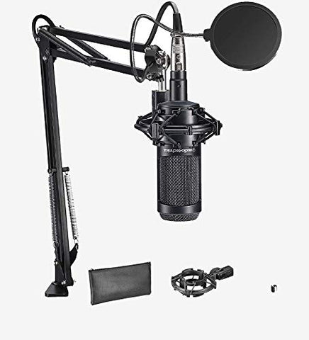 Audio-Technica AT2035 Microphone Podcast Recording bundle with Gooseneck Pop Filter, Boom Arm and XLR Cable