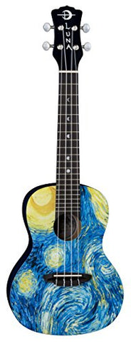 Luna UKE STR C Uke Starry Night Ukulele, Concert with Gig bag
