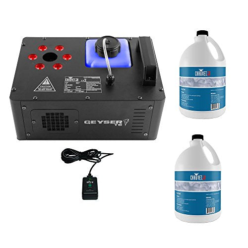 Chauvet DJ Geyser T6 Smoke Fog Machine & LED Light Effect w/ 2 Gallons Fog Fluid
